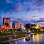 Dayton Ohio Skyline sunset with clouds