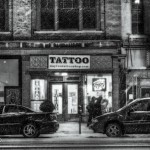 Snowy Night photo of tatoo parlor: E. Third St., Dayton Ohio