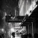 Loft Theatre, Dayton Ohio black and white snowy night