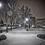 Snowy walk at night
