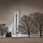 Carillon Bell Tower on snowy night