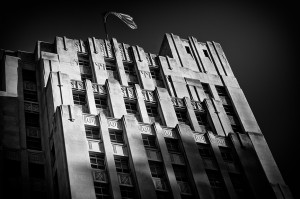 Deco style building black and white photo