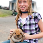 4H animals: Girl with bunny