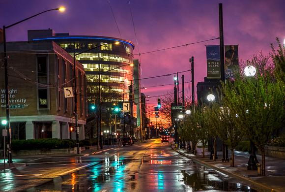 Monument Ave. on rainy night