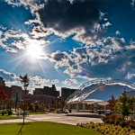 Riverscape Pavillion, Dayton Ohio in summer