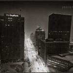 Main Street Dayton Ohio night in snow