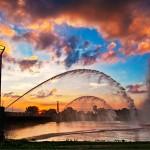 Fountains at sunset-Dayton Ohio