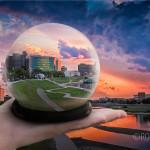 Snow globe photo with Dayton Ohio skyline