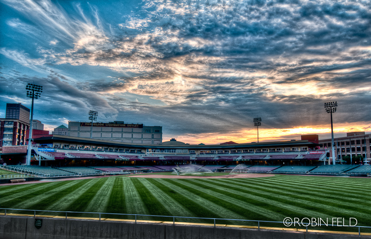 Watering the grass: Fifth Third Field, dusk