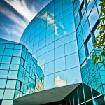 Blue Reflections: Wright Health Building Entrance, Dayton Ohio