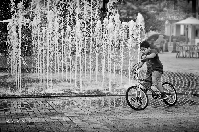 Boy on bike at Riverscape, Dayton Ohio