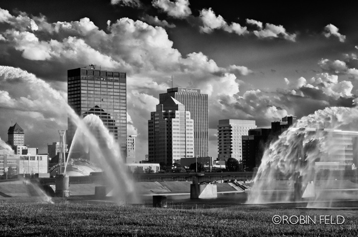 Dayton Ohio Skyline through fountains in black and white