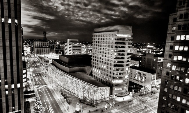 Schuster Center, Dayton Ohio at night (BW)