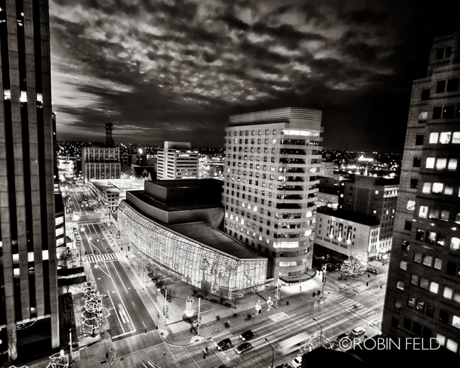 Schuster Center, Dayton Ohio at night (BW)