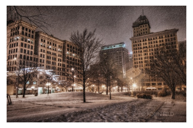 Dayton OHio photo night with  snow