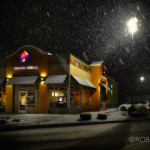 Taco Bell on snowy night