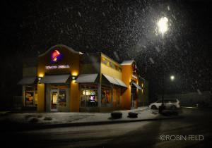 Taco Bell on snowy night