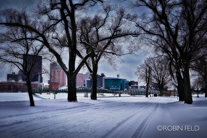 Dayton Ohio Skyline with snow