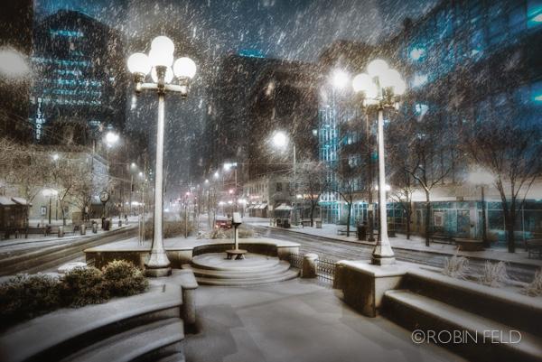 Main Street Night Snow, Dayton Ohio
