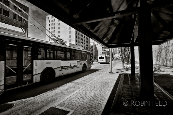 RTA bus on Main St. BW