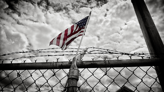 Flag on fence at VFW