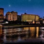 Starry night in Dayton Ohio - skyline photo art