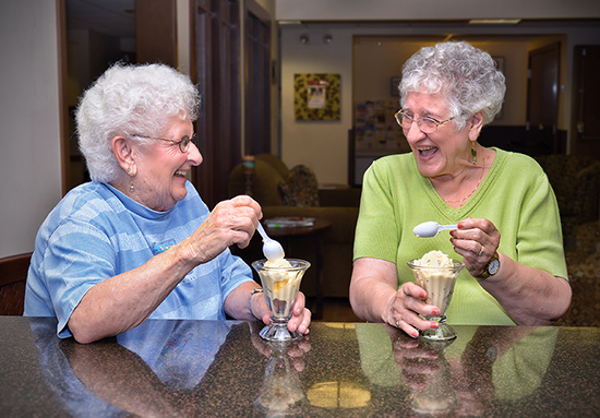 Senior women having fun