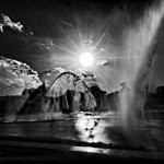 Riverscape fountains dramatic black and white photo