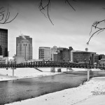Dayton Ohio skyline in winter black and white