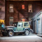 Jeep on snowy night