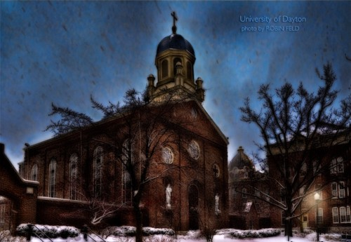 UD chapel in snow storm (University of Dayton)