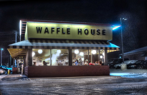 Winter nighttime at Waffle House