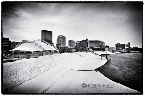 BW skyline of Dayton Ohio with snow