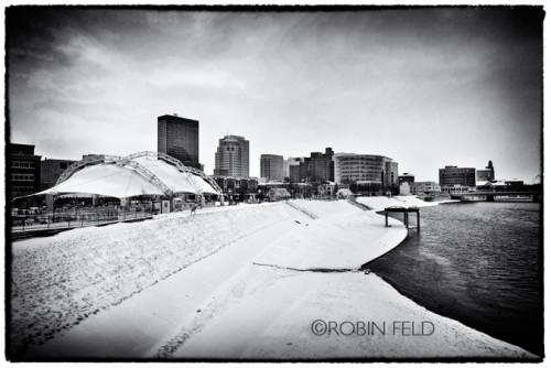 BW skyline of Dayton Ohio with snow