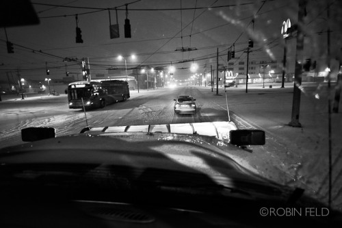 A snowy night, and the buses still got out