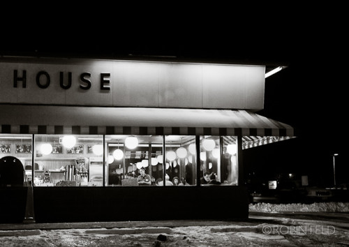 Waffle House at night, black and white photo