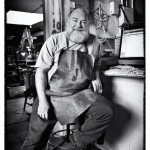 Environmental portrait of artist in studio