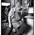 Environmental portrait of artist in studio