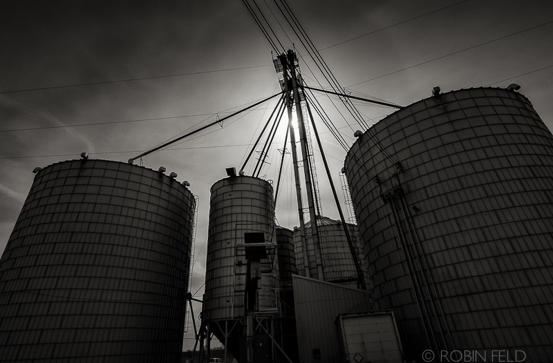 Grain Silos, black and white photo