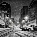 Snow, winter, Main Street Downtown Dayton OH
