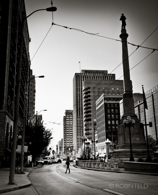 Walk on Main Street, black and white