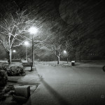 Snowy winter night Deeds Point: Black and white