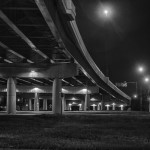 Highway overpass at night in Black and white