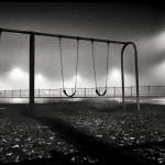 Night Series: Swings on foggy night