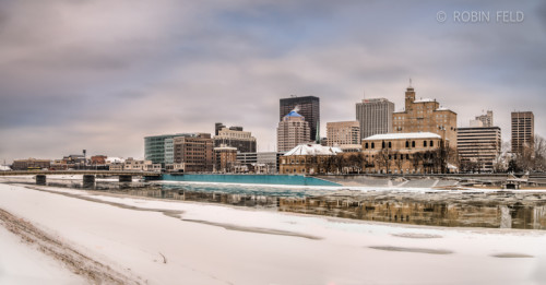 Dayton Ohio winter skyline