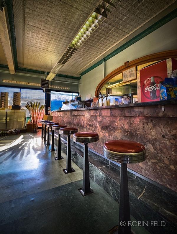 Old pharmacy interior, soda fountain