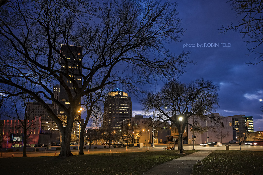 Dayton night cityscape: St. Clair & 2nd
