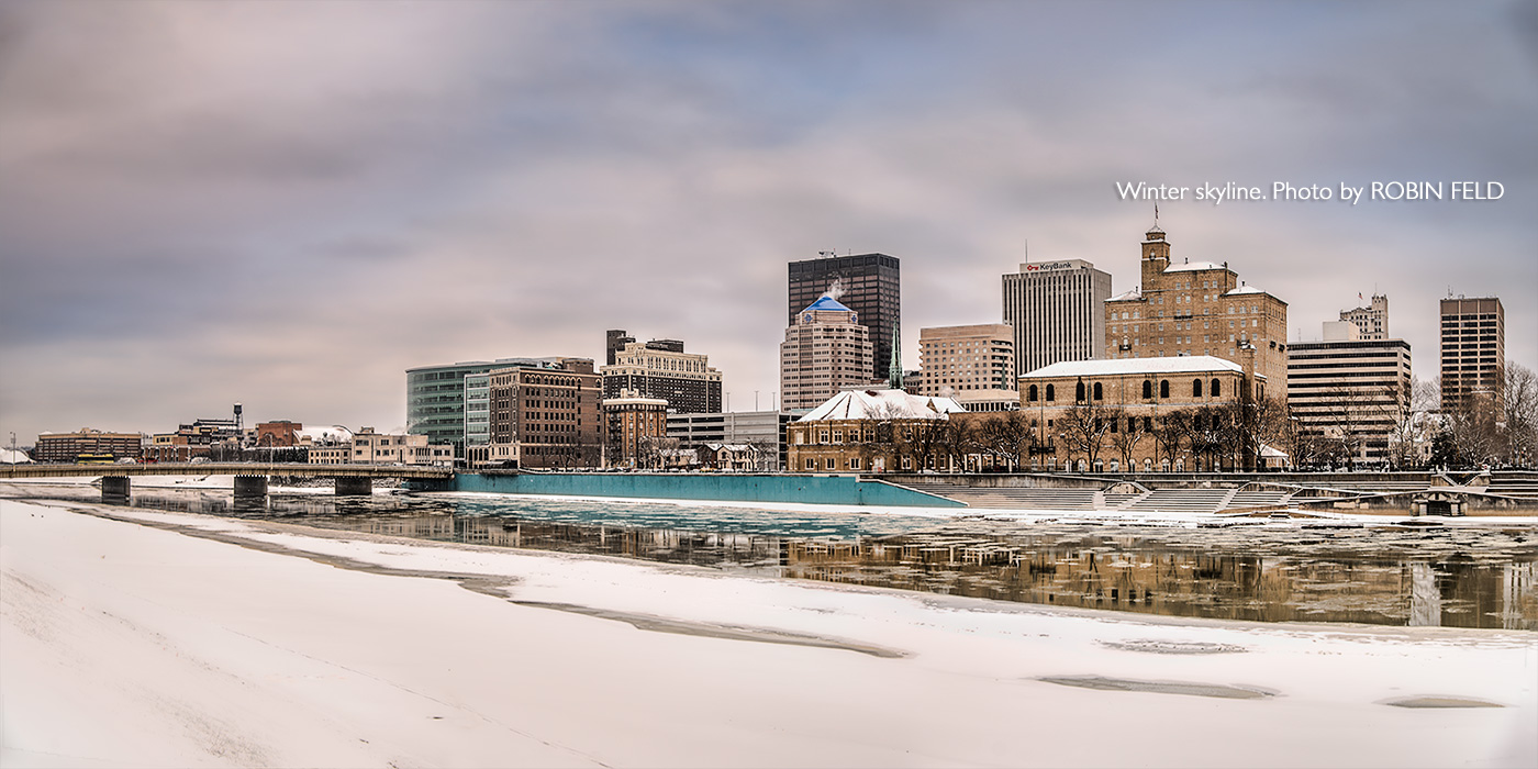 Dayton Ohio skyline photo in winter