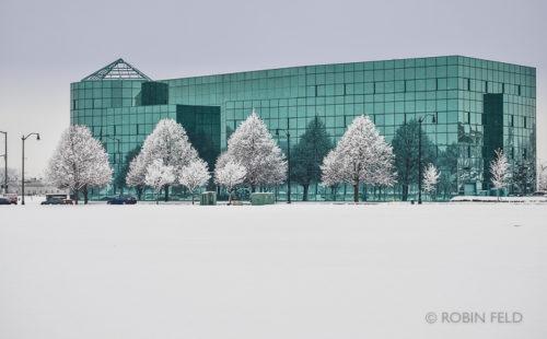 Snow scene Wright Health Building